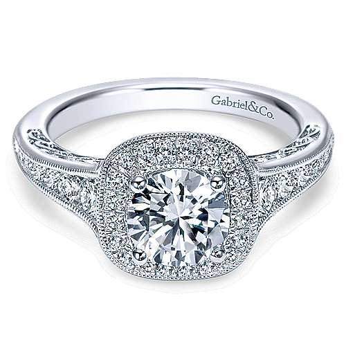 Gabriel - Allison 14k White Gold Round Halo Engagement Ring