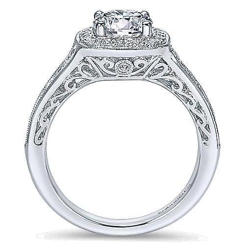 Allison 14k White Gold Round Halo Engagement Ring angle 2