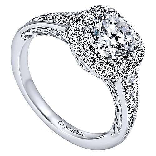 Allison 14k White Gold Round Halo Engagement Ring angle 3