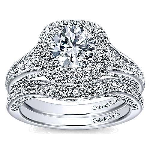Allison 14k White Gold Round Halo Engagement Ring angle 4