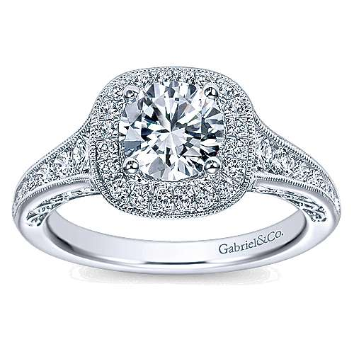 Allison 14k White Gold Round Halo Engagement Ring angle 5