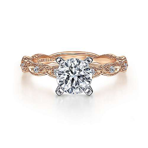 Gabriel - Alma 14k White And Rose Gold Round Straight Engagement Ring