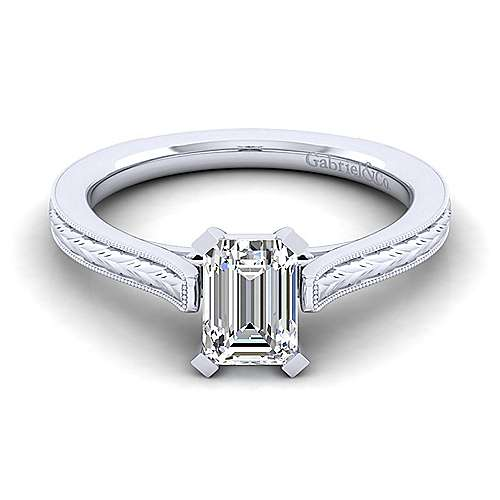 Gabriel - Alma 14k White Gold Emerald Cut Straight Engagement Ring