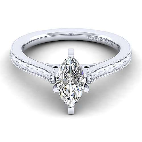 Gabriel - Alma 14k White Gold Marquise  Straight Engagement Ring