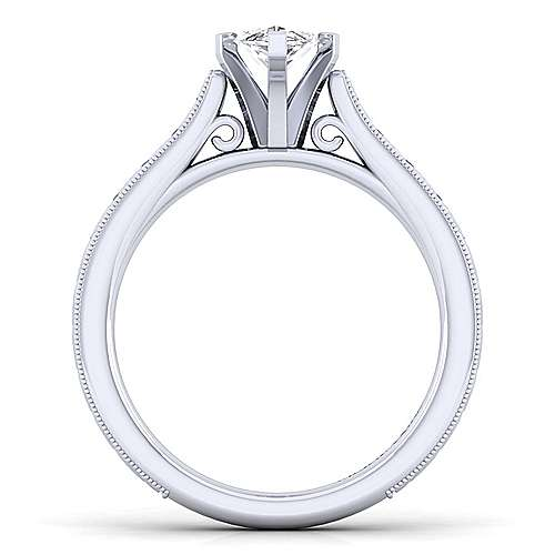 Alma 14k White Gold Marquise  Straight Engagement Ring angle 2