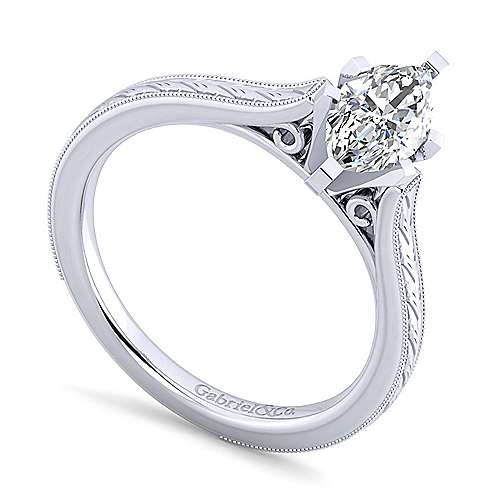 Alma 14k White Gold Marquise  Straight Engagement Ring angle 3