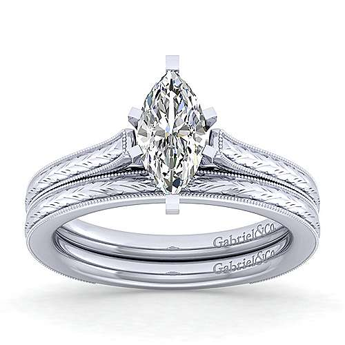Alma 14k White Gold Marquise  Straight Engagement Ring angle 4