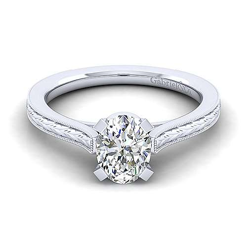 Gabriel - Alma 14k White Gold Oval Straight Engagement Ring