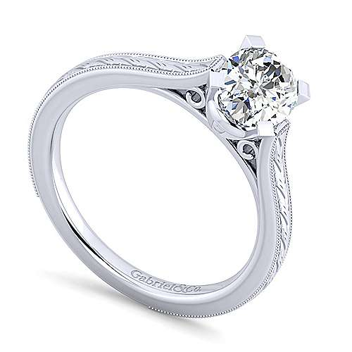 Alma 14k White Gold Oval Straight Engagement Ring angle 3