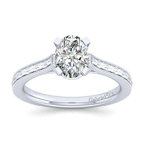 Alma 14k White Gold Oval Straight Engagement Ring angle 5