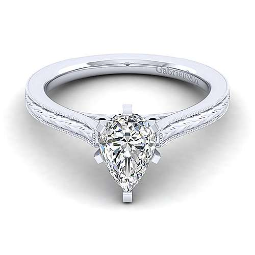 Gabriel - Alma 14k White Gold Pear Shape Straight Engagement Ring