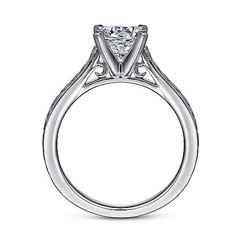 Alma 14k White Gold Round Straight Engagement Ring angle 2