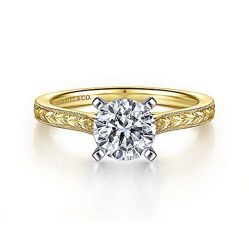 Alma 14k Yellow And White Gold Round Straight Engagement Ring angle 1