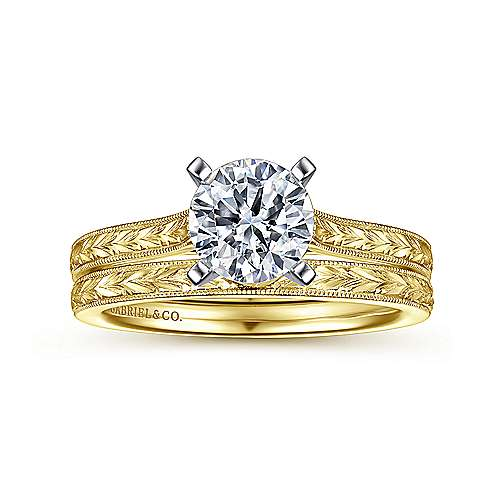 Alma 14k Yellow And White Gold Round Straight Engagement Ring angle 4
