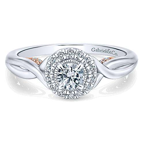 Gabriel - Aloha 14k White And Rose Gold Round Halo Engagement Ring