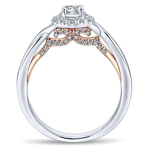 Aloha 14k White And Rose Gold Round Halo Engagement Ring angle 2