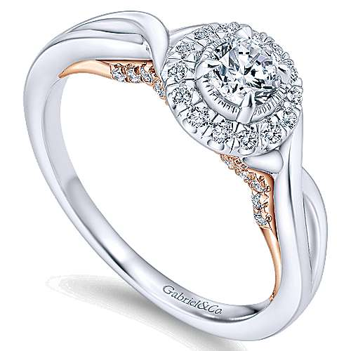 Aloha 14k White And Rose Gold Round Halo Engagement Ring angle 3
