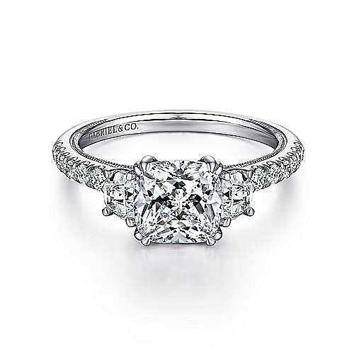 Gabriel - Aloise 14k White Gold Cushion Cut 3 Stones Engagement Ring
