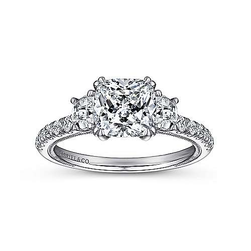 Aloise 14k White Gold Cushion Cut 3 Stones Engagement Ring angle 5