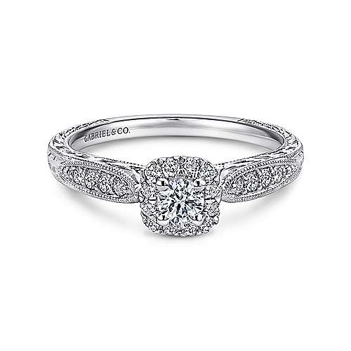 Gabriel - Alona 14k White Gold Round Halo Engagement Ring