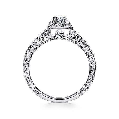 Alona 14k White Gold Round Halo Engagement Ring angle 2