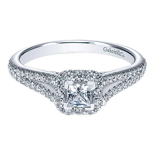 Gabriel - Alta 14k White Gold Princess Cut Halo Engagement Ring