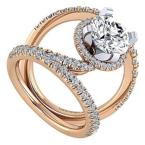 Altaira 14k White And Rose Gold Round Split Shank Engagement Ring angle 3