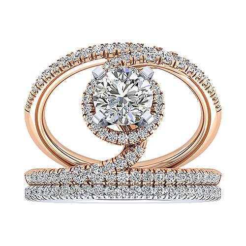 Altaira 14k White And Rose Gold Round Split Shank Engagement Ring angle 4