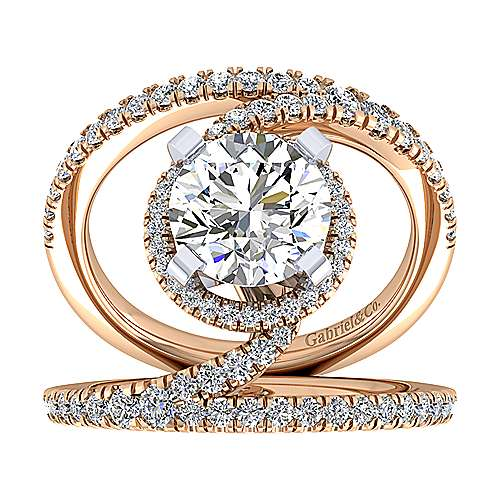 Altaira 14k White And Rose Gold Round Split Shank Engagement Ring angle 5