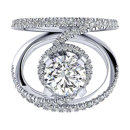 Gabriel - Altaira 14k White Gold Round Halo Engagement Ring