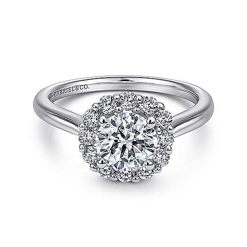 Althea 14k White Gold Round Halo Engagement Ring angle 1