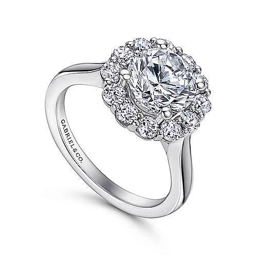 Althea 14k White Gold Round Halo Engagement Ring angle 3