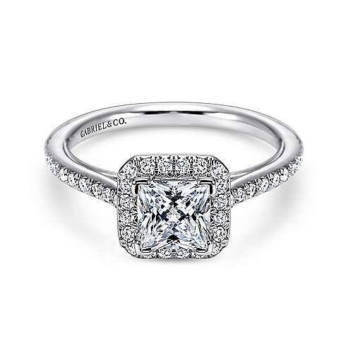 Gabriel - Amaranta 18k White Gold Princess Cut Halo Engagement Ring