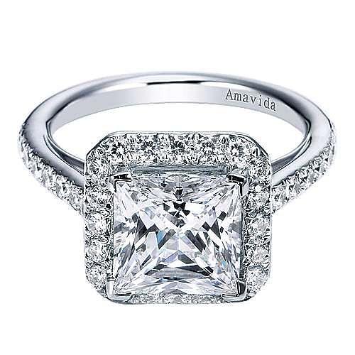 Gabriel - Amaranta 18k White Gold Princess Cut Halo Engagement Ring