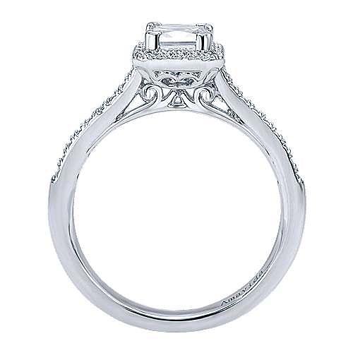 Amaranta 18k White Gold Princess Cut Halo Engagement Ring angle 2