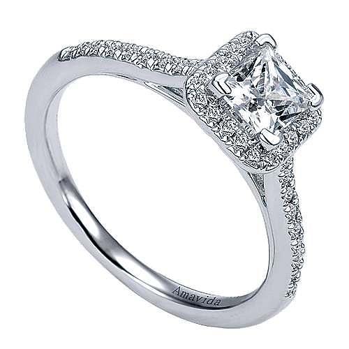 Amaranta 18k White Gold Princess Cut Halo Engagement Ring angle 3