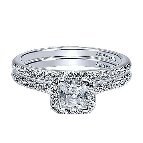 Amaranta 18k White Gold Princess Cut Halo Engagement Ring angle 4