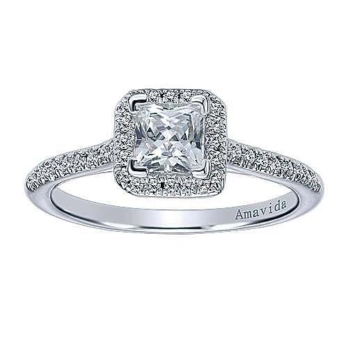 Amaranta 18k White Gold Princess Cut Halo Engagement Ring angle 5