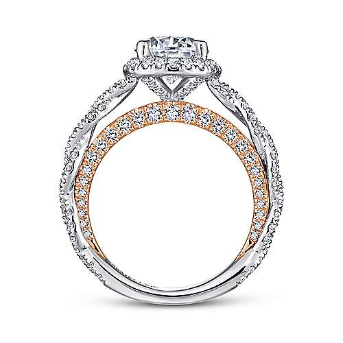Amaya 18k White And Rose Gold Round Halo Engagement Ring angle 2