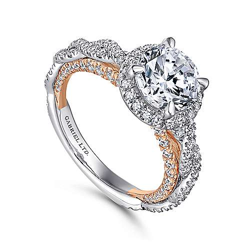 Amaya 18k White And Rose Gold Round Halo Engagement Ring angle 3