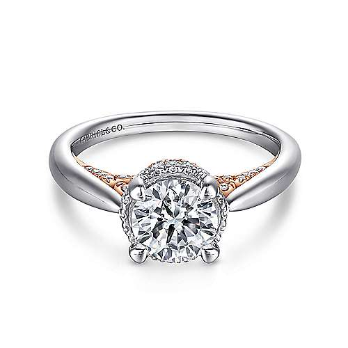 Amazonia 14k White And Rose Gold Round Straight Engagement Ring angle 1