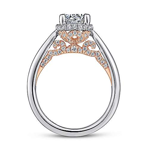 Amazonia 14k White And Rose Gold Round Straight Engagement Ring angle 2