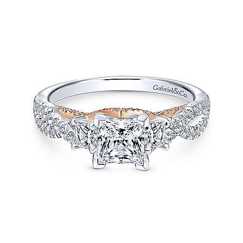 Ambrosia 14k White And Rose Gold Princess Cut 3 Stones Engagement Ring