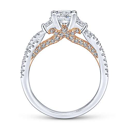 Ambrosia 14k White And Rose Gold Princess Cut 3 Stones Engagement Ring angle 2