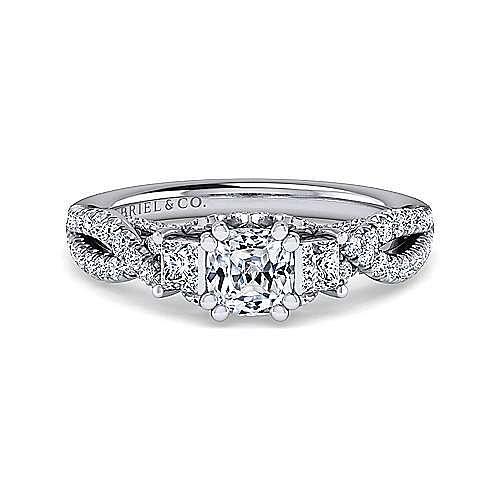 Gabriel - Ambrosia 14k White Gold Cushion Cut 3 Stones Engagement Ring