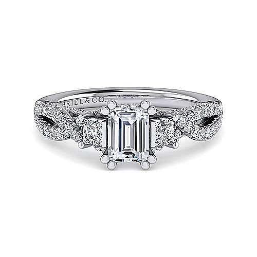 Gabriel - Ambrosia 14k White Gold Emerald Cut 3 Stones Engagement Ring