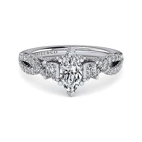 Gabriel - Ambrosia 14k White Gold Marquise  3 Stones Engagement Ring