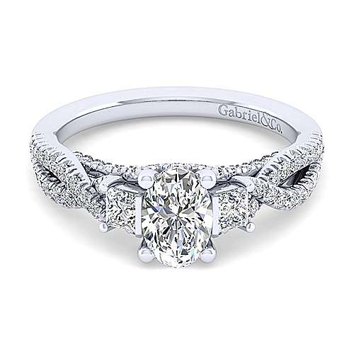 Gabriel - Ambrosia 14k White Gold Oval 3 Stones Engagement Ring