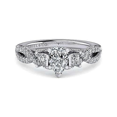 Gabriel - Ambrosia 14k White Gold Pear Shape 3 Stones Engagement Ring