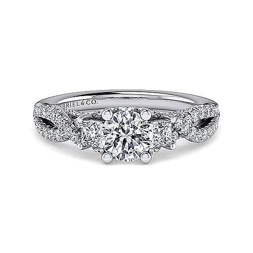 Gabriel - Ambrosia 14k White Gold Round 3 Stones Engagement Ring